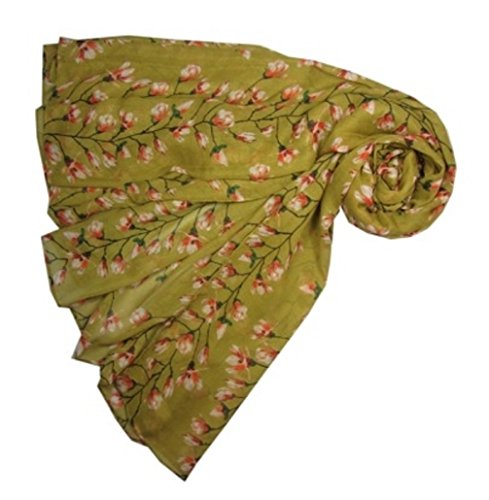 new-magnolia-bud-floral-print-floral-large-lightweight-scarf-wrap-mustard-yellow