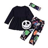 Riou Kinder Langarm Halloween Kostüm Top Set Baby Kleidung Set Kleinkind-Baby-Mädchen-Geist Kleidet Gestreifte Hosen-Halloween-Kostüm-Ausstattungen Eingestellt (100, Schwarz)