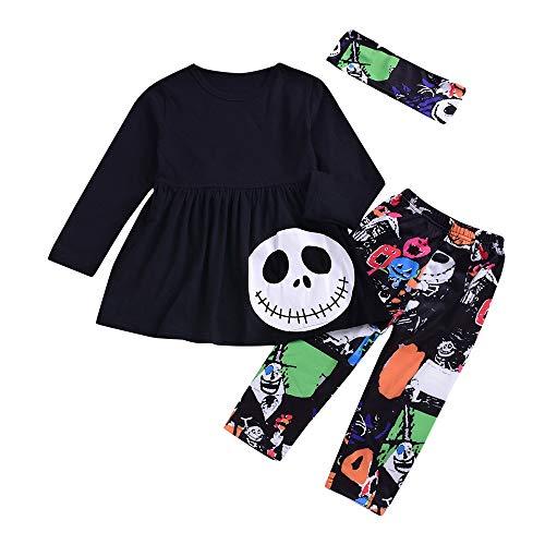 Riou Kinder Langarm Halloween Kostüm Top Set Baby Kleidung Set Kleinkind-Baby-Mädchen-Geist Kleidet Gestreifte Hosen-Halloween-Kostüm-Ausstattungen Eingestellt (90, Schwarz)