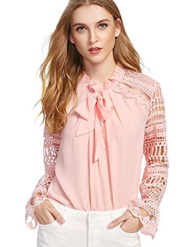 DIDK Damen Elegant Bluse mit Spitzen-Ärmeln und Schleife Langarm Sommerbluse Rosa L