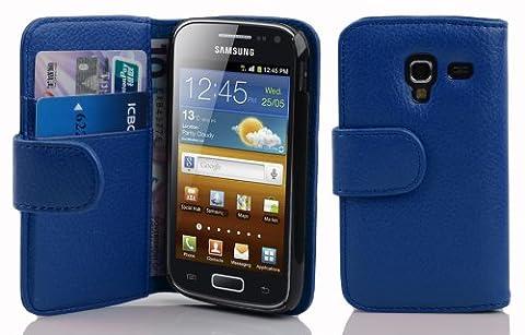 Cadorabo - Etui Housse pour Samsung Galaxy ACE 2 (I8160) - Coque Case Cover Bumper Portefeuille (avec fentes pour cartes) en BLEU CÉLESTE
