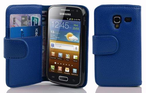 Cadorabo Samsung Galaxy ACE 2 Custodia di Libro di Finta-Pelle STRUTTURA in BLU MARINA – con Vani di Carte e Chiusura Magnetica – Portafoglio Cover Case Wallet Book Etui Protezione