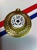 """Medaillen für Fußball, goldfarben, 15 x 50 mm, Aufschrift """"Man of the Match"""" (Spieler der Begegnung), mit Schleifen in Rot/Weiß/Blau"""