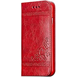 Funda para Samsung Galaxy S8+, Samsung G955F Carcasa Libro de Cuero, CLTPY Cubierta de Cartera Retro Elegante Patrón de Amor con Ranuras de Tarjetas y Función de Soporte para Samsung Galaxy S8+/S8Plus/G955F + 1 x Lápiz Gratis - Rojo