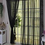ILOVEDIY Gardine Vorhang transparent Stores Schal Fensterschal Dekoschal Voile 200x100 cm Schwarz
