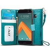 HTC 10 Hülle, J&D Handytasche mit Standfuß Slim Fit Robust Stoßfest Aufklappbar Tasche Hülle für HTC 10 - Aqua