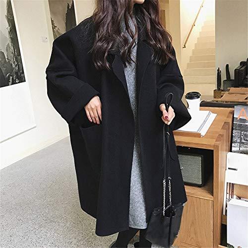 IOSDH8 Herbstfrauenlose Mischung MantelMantel Strickjacke lässige Feste langärmelige Jacke Outwear, M, schwarz - Wolle-mischung Military Mantel
