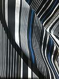 97% Baumwolle 3% Lycra schwarz weiß und blau gestreift