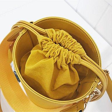 SUNNY KEY-Borsa a tracolla @ Donna sacchetto regola PU (Poliuretano) Per tutte le stagioni Casual Bauletto A cordoncino Blu Nero Giallo , yellow black