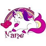 Bügelbild Einhorn, Unicorn mit persönlichem Namen plus 1 kleines Gratis Bild zum Üben;