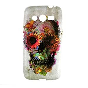 1001 Coques - Coque silicone Samsung Galaxy Core 4G Tête de mort Fleur