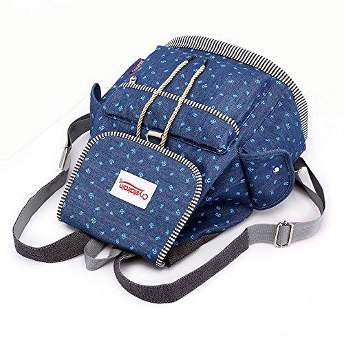 Mypace Groß Klein Umhängetasche Leder Tasche Für Damen Mode Ziehen Schnalle Denim Student Bag Large Capacity Casual Rucksack -