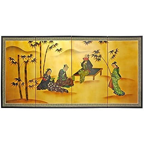 Oriental Furniture 36 Ladies & Bamboo on Gold Leaf by ORIENTAL FURNITURE