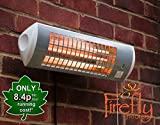 Firefly 1.8kW Wall Mounted Quartz Outdoor Indoor Patio Heater with 3 Power Settings - White