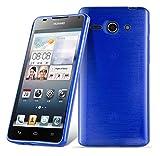 Cadorabo DE-105009 Huawei Ascend G520 / G525 Handyhülle aus TPU Silikon in gebürsteter Edelstahloptik (Brushed) Blau