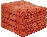 Set di 4 asciugamani in spugna, dimensione: 50 x 100 cm, qualità 500 g/m², 100% cotone, Tessuto, Terrakotta / Dunkelorange, 50x100 cm