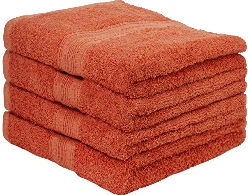 4er Pack Frottier Handtücher Set 50x100cm - Qualität 500 g/m² - 100% Baumwolle in 19 modernen Farben (Terrakotta / Dunkelorange)