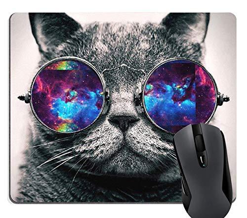 Muccum Cool Galaxy Cat Hipster Kätzchen mit farbiger Sonnenbrille, Gaming Mauspad Custom, süßes graues schwarzes Weltraum-Katzen-Mauspad für Computer 24,1 x 20,1 cm (240 mm x 200 mm x 3 mm)