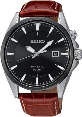 Seiko Kinetic SKA569P1 automático para hombre, correa de cuero color marrón (agujas luminiscentes)