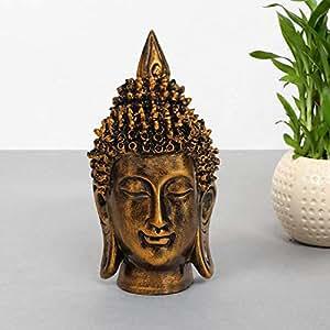 TIED RIBBONS Tiedribbons Buddha Head(17 Cm X 9 Cm,Golden)