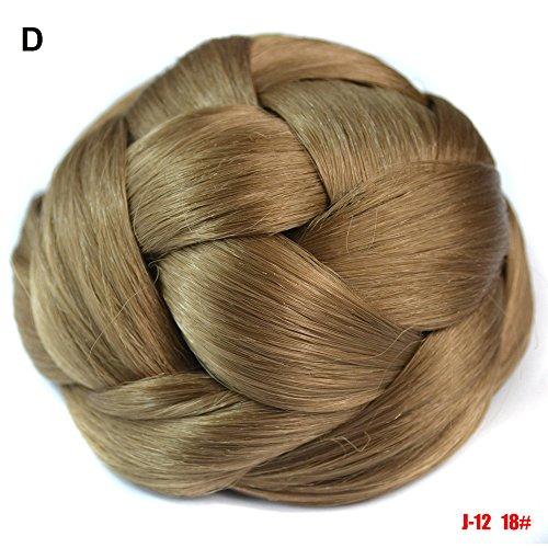 ile Zopf Hübsches Frauen-Mädchen-Pferdeschwanz-Halter-Perücken-Haar-Ring-Brötchen Glatt Haarverlängerung Gerade Hitzebeständig Menschen Wrap Around Hair Piece (10 x 6cm, D) ()