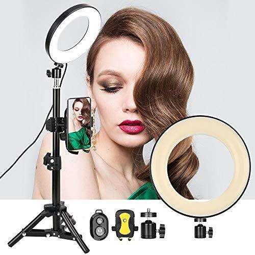 """ZOMEI 6 """"Bureau Anneau LED Light avec Trépied & Support de Téléphone Cellulaire pour Stream en Direct/Maquillage, YouTube Vidéo/Photographie Compatible avec iPhone Android"""