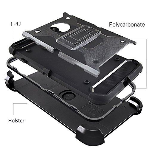 """iPhone 7 Plus Housse , SHANGRUN Hybrid Defender Case Silicone Couche Silicone et PC Antichoc avec Béquille Etui et Clips Ceinture Pivotant Housse pour iPhone 7 Plus 5.5""""/ iPhone 8 plus Noir Gris"""