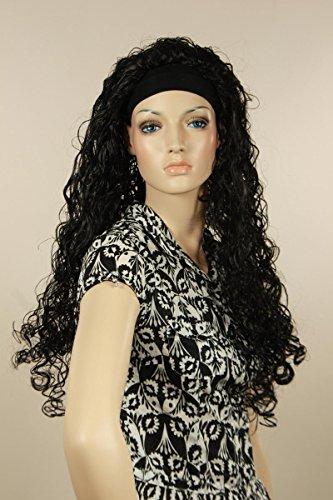Perruque Femmes longue noir Effrangé Bouclé Carnaval Carnaval Halloween 80's party avec bandeau