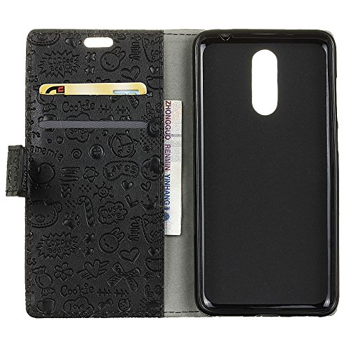 Alcatel A7 Brieftasche Hülle PU+TPU Kunstleder Handyfall für Alcatel A7 mit Stand Funktion Ein Stent-Funktion (Schwarz)