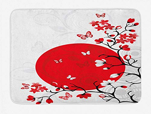 KIYINY Japanese Bath Mat, Japanese Culture Inspired Artwork Cherry Blossom Sakura Tree Eastern, Plush Bathroom Decor Mat with Non Slip Backing, Vermilion Black White 15.7X23.6 inch/40X60cm