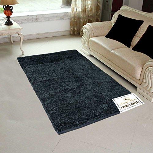 Avioni Handloom Rug For Living Room Solid Colors Dark Gray -3 Feet X 5 Feet