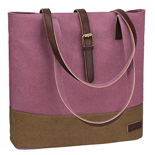 S-ZONE Borsa casuale della borsa delle donne della tela di canapa per i sacchetti di tele del computer portatile da 14 pollici Rosa