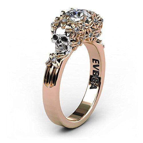 EVBEA Rose Gold Diamant Verlobungsring Totenkopf Ringe Einzigartige Billige Geschenke für Frauen mit Geschenk-Box Mädchen Zirkon Kristall Punk Rock Style Schmuck Zubehör Schmuck Kristallen Damen (Kristall-ring-box)