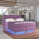 Moebel89 Boxspringbett Amadeo in lila Microfaser mit LED, Farbe wie abgebildet 180cm x 200cm/Bett, Doppelbett, Hotelbett, Gästebett als Boxspringbett mit Federkern mit Schaumpolsterung