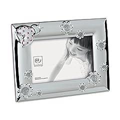 Idea Regalo - Mascagni Cornice Portafoto bebé con cristalli Swarovski, Metallo, Rosa, 17x 22x 1,5cm