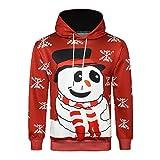 MRULIC Herren Winter Hoodies 3D Christmas Print Sweatshirt Langarm Kapuzenshirts mit Taschen