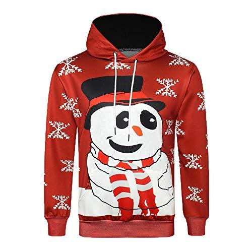 SEWORLD Weihnachten Christmas Herren Männer Herbst Winter 3D Weihnachten Drucken Langarm Kapuzenshirt Strickjacke Bluse Tops(Rot,EU-48/CN-XL)