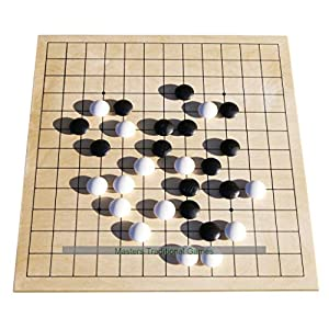 Go Masters – Entry-Level Go Set – Dual Sided Wooden Board (13×13 and 9×9), Plastic Stones