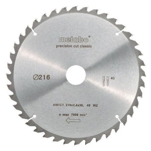 Classic 30 (Metabo 628060000 Kreissägeblatt HW/CT 216x2,4x30 mm 40 WZ 5°neg. classic)