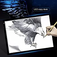 Tablero de dibujo de dibujo de LED, A3 Super ligero tapa de luz de seguimiento Caja de luz de copia con 3 niveles de brillo ajustable Lightbox for Clothing diseño de dibujo, arquitectura, aplicación de animación (A3)