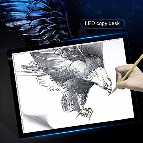 A3 LED Leuchttisch BEECOCO Einstellbare Helligkeit Leuchtkasten Zeichnen Leuchtplatte 47 x 37CM