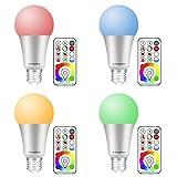 (4 Pack) LED RGB Lampen,Lengjoy E27 10W LED RGBW Farbwechsel Lampe mit Fernbedienung, 120 Farben,...