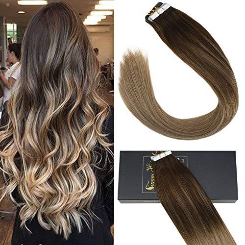 Sunny 35cm capello umano brasiliana remy tape in adesive 50g/20pcs balayage marrone con bionda miele estensione capelli lisci