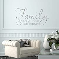V&C Designs Ltd Family is a Gift Glitter Sparkle Quote Home Lounge Living Room Hallway Bedroom Kitchen Dining Room Wall Sticker Wall Art Wall Vinyl Wall Decal Wall Mural - Regular Size (Large size also available)