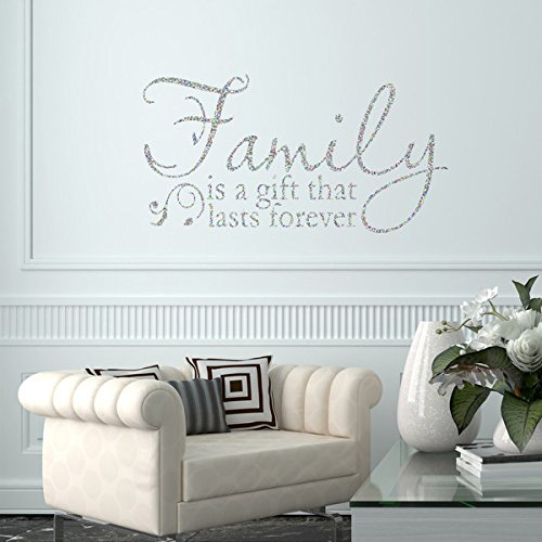 VC Designs Ltd Family Is A Gift Glitter Sparkle Quote Home Lounge Living Room Hallway Bedroom Kitchen Dining Wall Sticker Art Vinyl