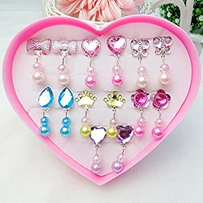 7 Pairs Clip-on Earrings with Pads for Girls Dress up Princess Jewelry Storage in Heart Shaped Box