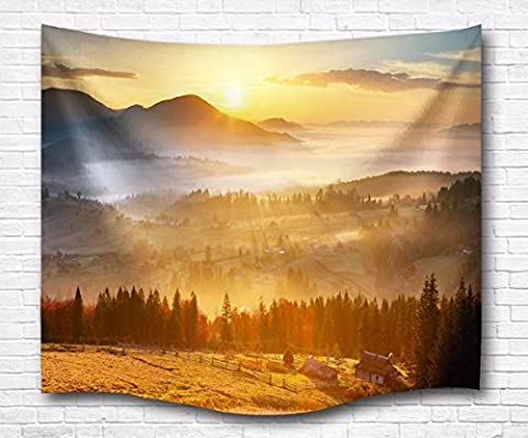 A.Monamour Sunset Nature Mountains Forests Land Field Scenic Photo Digital Printed Tapestry Wall Hanging Wall Tapestry Living Room Bedroom Dorm