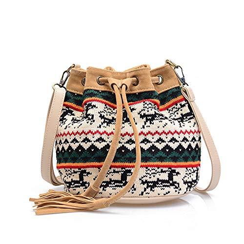 Geflochtene Tasche Damenhandtaschen,Umhängetasche Eimertasche Eimertasche Kleine Tasche Khaki -