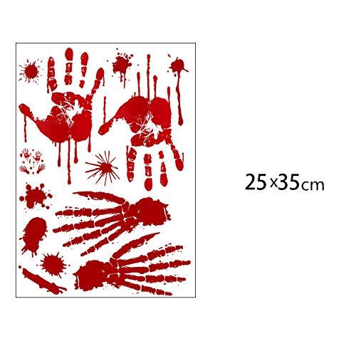 Halloween-Dekorationsblut handprint Wandaufkleber rot 25x35cm