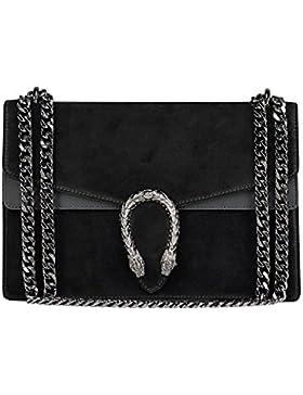 RACHEL Umhängetasche Handtasche mit Kette und Schließen von Zubehör metallischen dunklem Nickel, Glatteleder und...